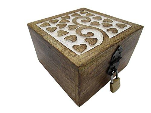 24GS Truhe Holztruhe Schatzkiste mit Schloss Schatztruhe Geschenk Geschenkbox Geburtstagsgeschenk verschließbar abschließbar mit Deckel