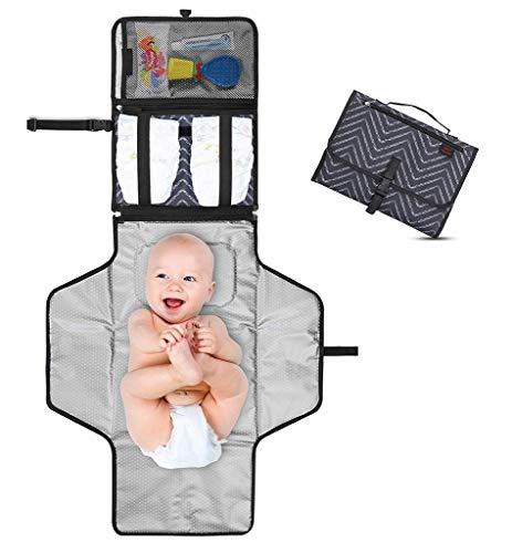 Tragbare Wickelunterlage - Wickelstation für Unterwegs - Komplett gepolstert - Matte abnehmbar & abwischbar - Wickeln auf Reisen - Geschenk für Babyparty (Dark Gray)