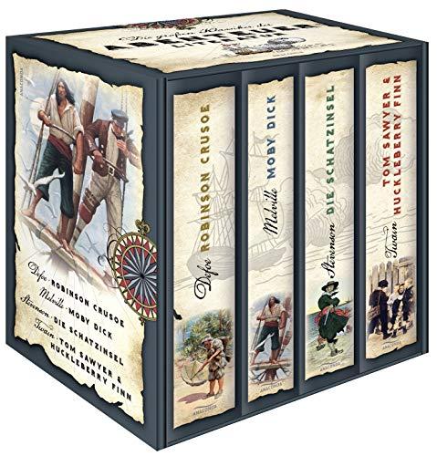 Die groen Klassiker der Abenteuerliteratur (im Schuber) - Robinson Crusoe - Moby Dick - Die Schatzinsel - Tom Sawyer & Huckleberry Finn