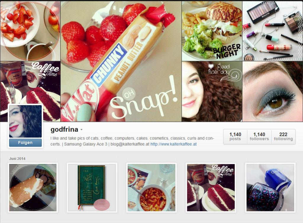Kalter Kaffee auf Instagram