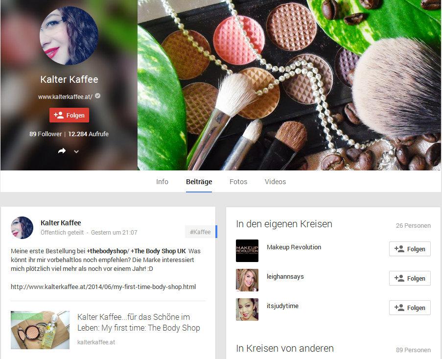 Kalter Kaffee auf Google Plus