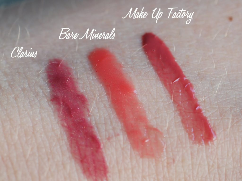 Meine Top 3 Lipglosse Swatches Clarins Bare Minerals Make Up Factory