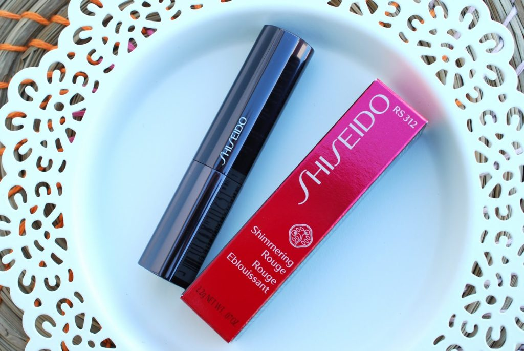 "Review und Swatches Shiseido Lippenstift Shimmering Rouge RS312 ""Iced Rose"""