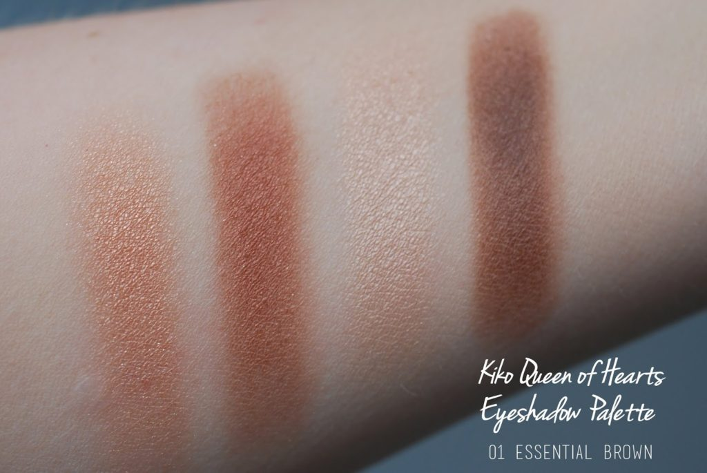 "KIKO Queen of Hearts Eyeshadow Palette 01 ""Essential Brown"" Swatches"