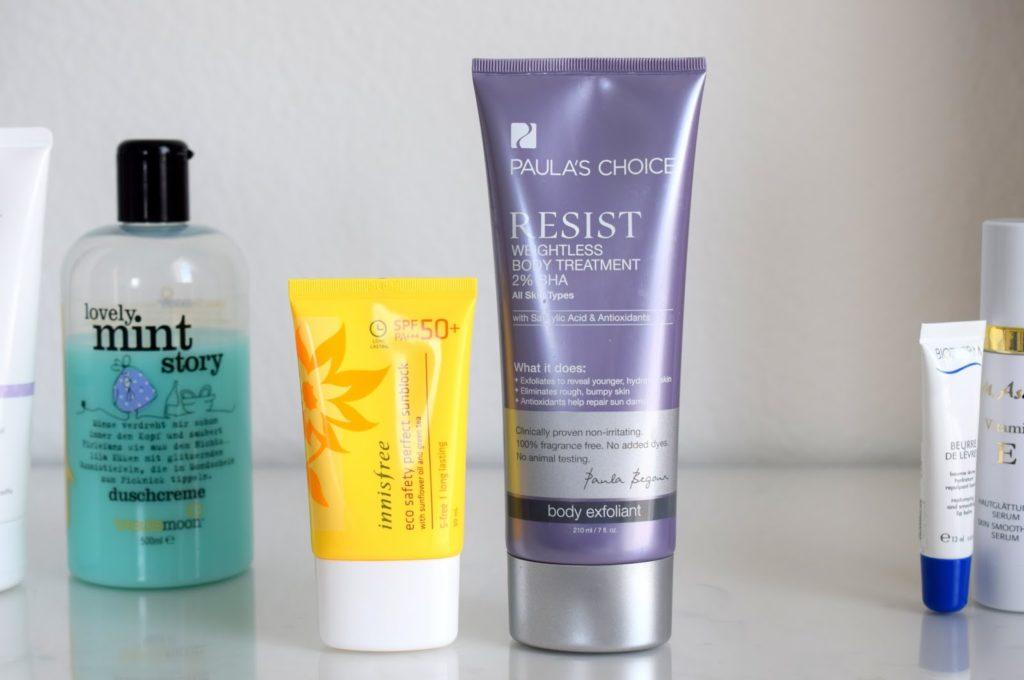 Innisfree Sunblock SPF 50 und Paula's Choice Resist Weightless Body Treatment