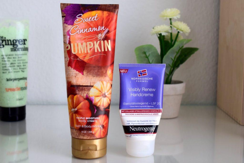 Beauty Favoriten im März: Bath and Body Works Sweet Cinnamon Pumpkin und Neutrogena Visibly Renew Handcreme