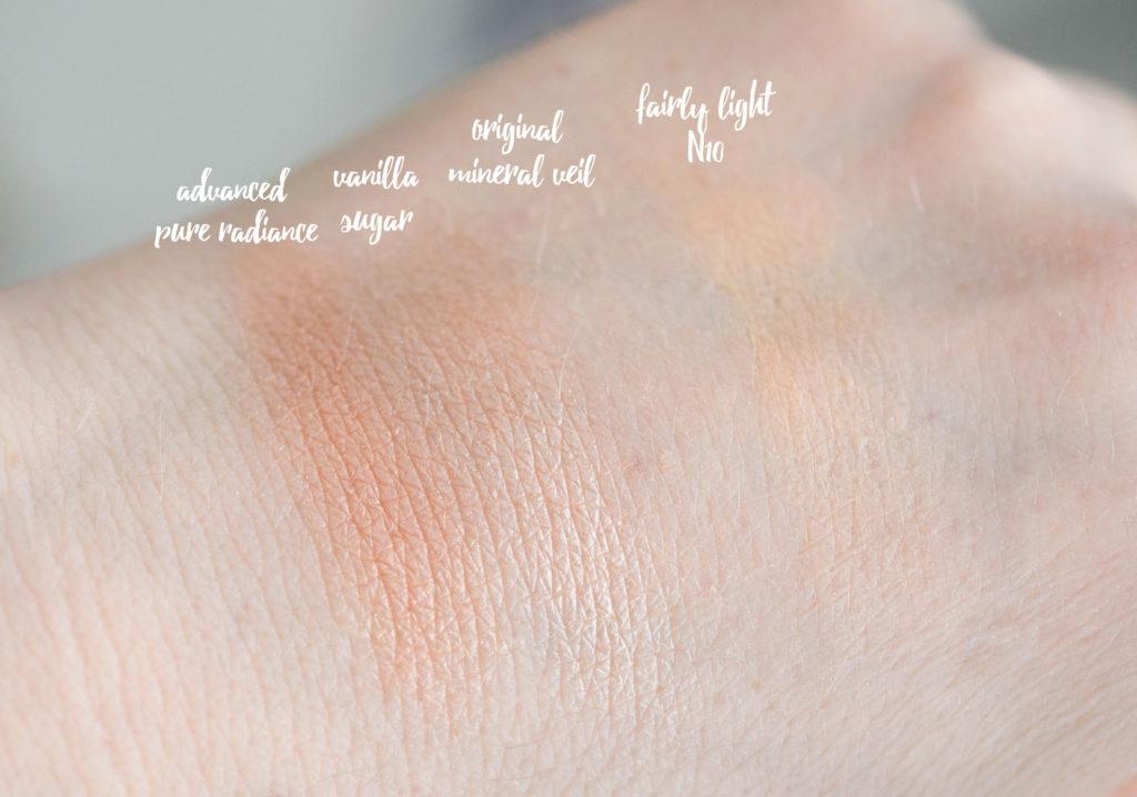 Swatch Bare Minerals Mineralpuder Produkte für Gesicht und Lidschatten