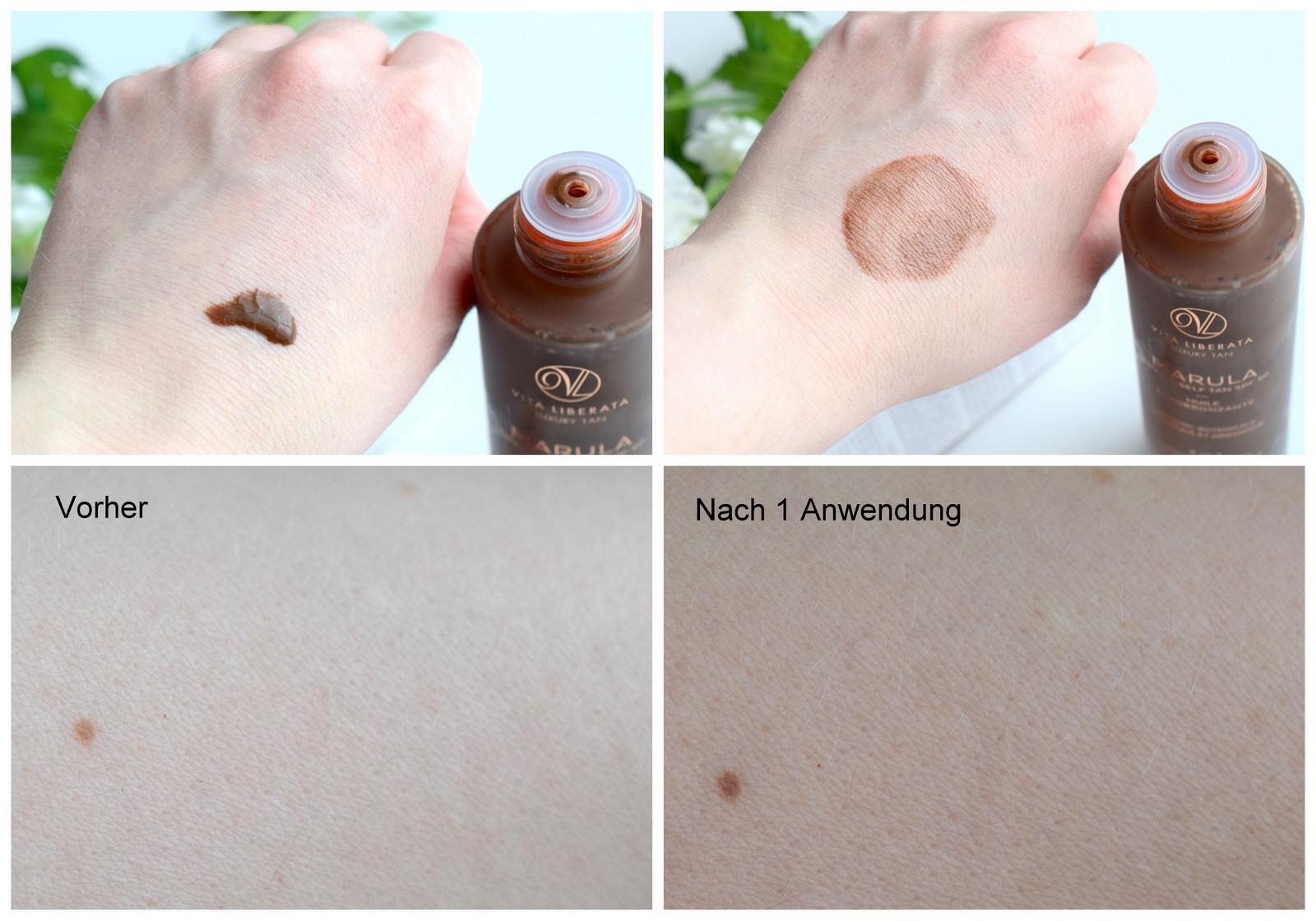 Vita Liberata Marula Self Tan Dry Oil SPF50 Review mit Vorher-Nachher-Bildern von der Anwendung des Selbstbräuners mit Lichtschutzfaktor.