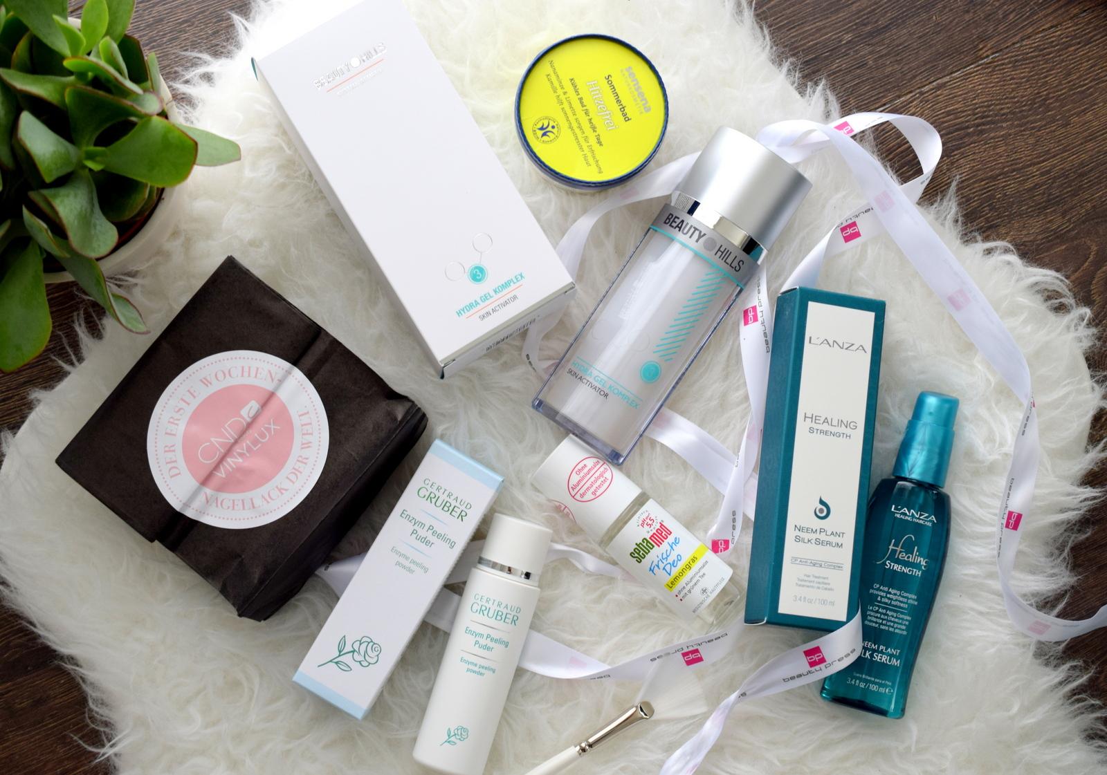 Inhalt Beautypress Newsbox August 2016, die an 50 Blogger im Beautypress Verteiler geschickt wird.