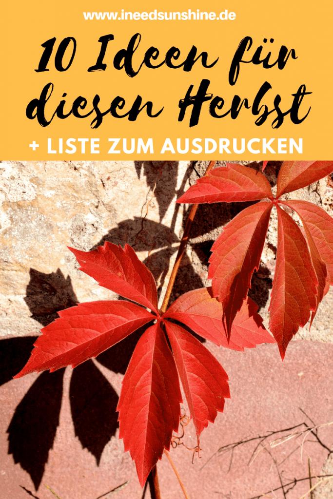 Herbst To Do Liste mit 10 Ideen für diesen Herbst auf Mamablog I need sunshine