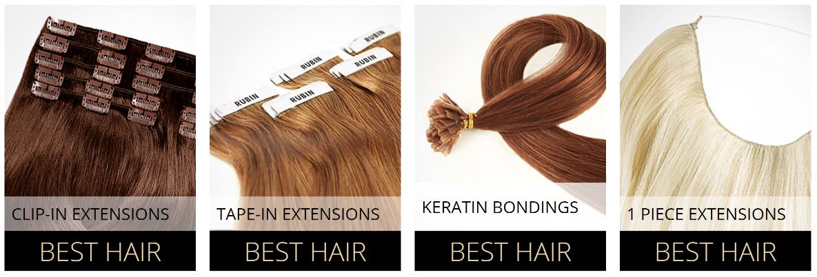 Echthaar Extensions Clip-in-Extensions,Tape-in-Extensions und Kreatin Bondings bei Rubin Extensions.