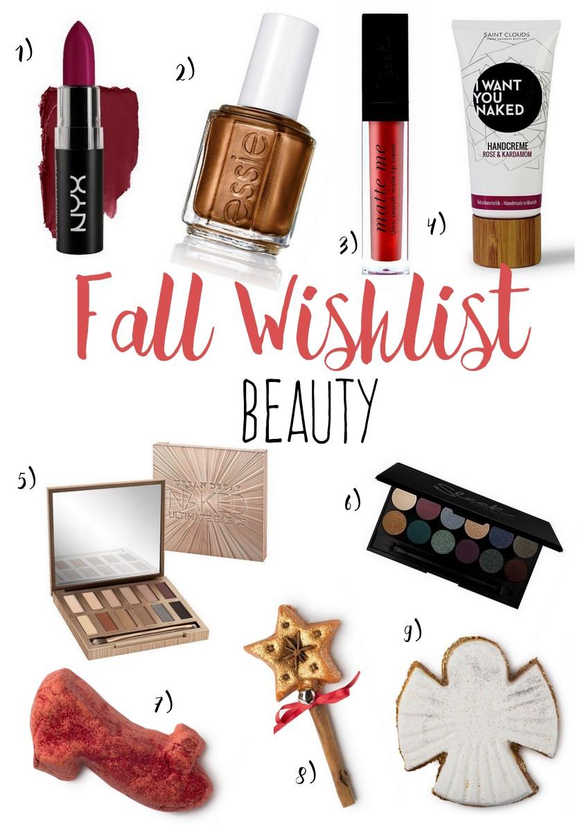 Herbst Inspiration Shopping Wishlist Beauty Produkte Kosmetik Tipps für Herbst matte Lippenstifte Lidschattenpalette Urban Decay Naked und Lush Weihnachten 2016