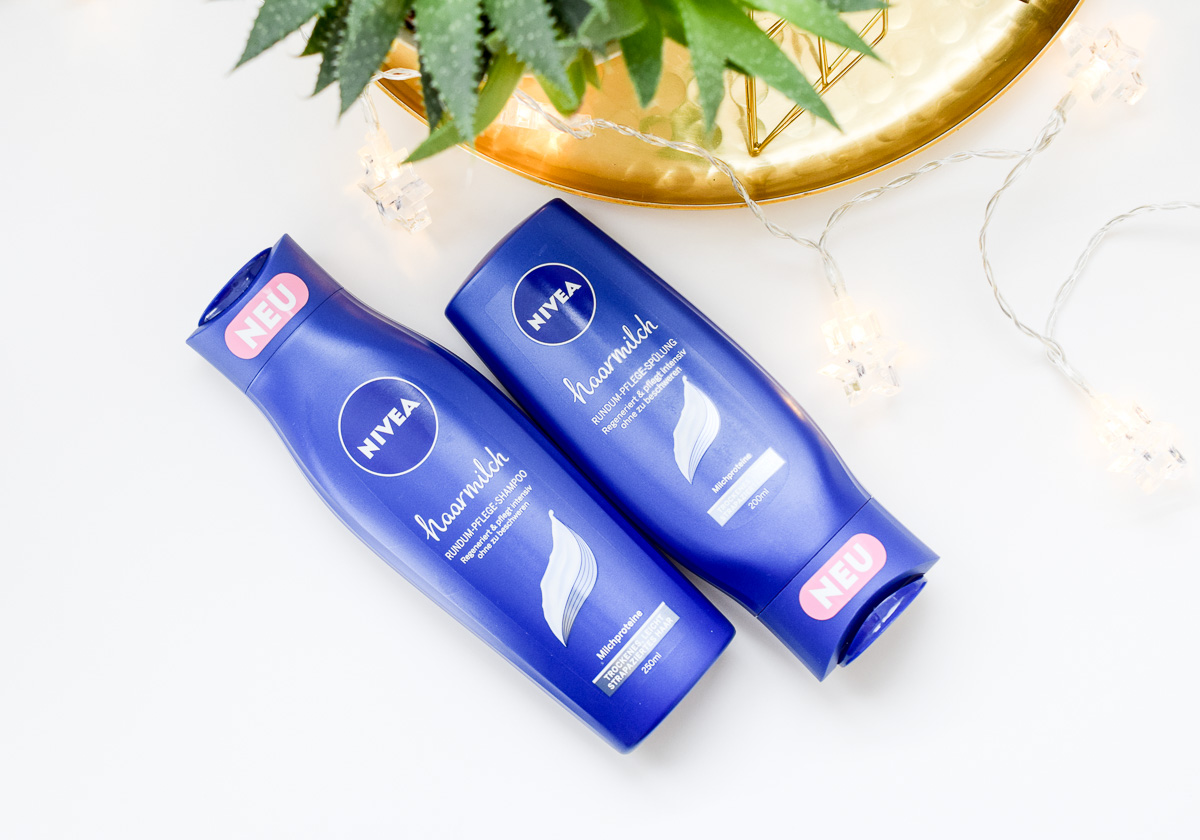 Neu in der Drogerie NIVEA  Haarmilch Rundum Spülung und Shampoo und Spülung gegen trockene Haare mit Nivea Duft im Beauty-Blogger Test Review