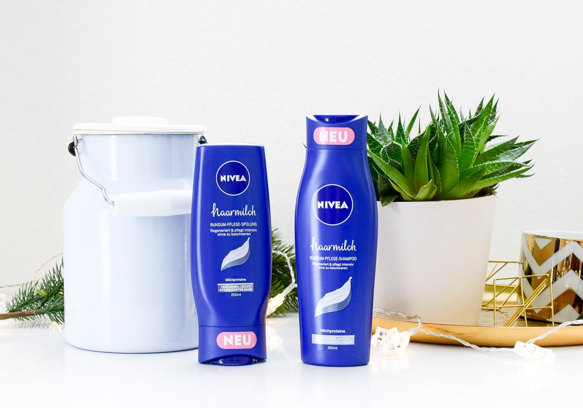 Gewinnspiel Nivea Rundum-Glücklich-Paket mit Nivea Haarmilch Rundum-Pflege Shampoo und Spülung gegen trockene Haare und Retro-Milchkanne aus Emaille