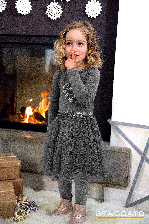 Graues Kleid mit Tüllrock von STACCATO Kinderkleidung Mädchen