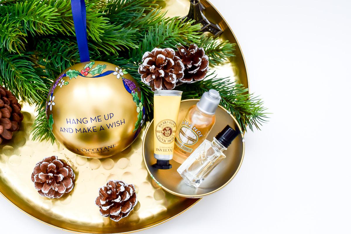 L'Occitane Weihnachtskugeln Inhalt Beauty Blogger Gewinnspiel Dezember Inhalt blaue L'Occitane Weihnachtskugel Inhalt Goldene L'Occitane Weihnachtskugel