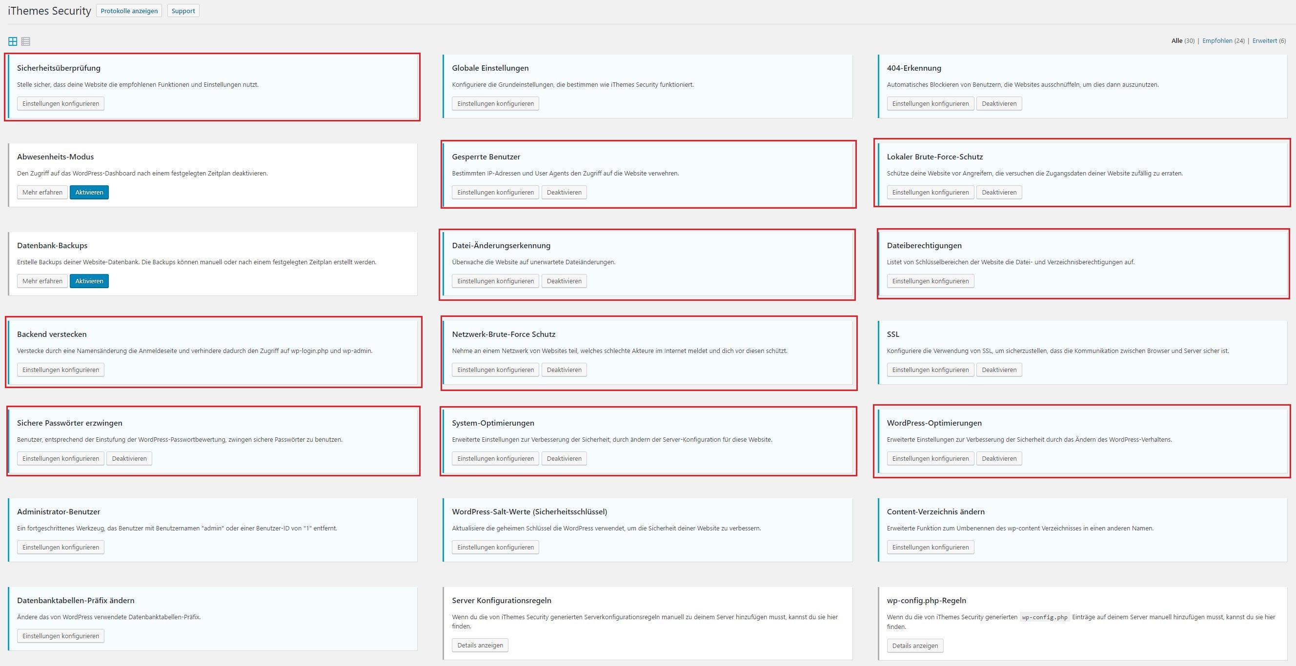 Wichtige Einstellungen iThemes Security Plugin für WordPress Sicherheit erhöhen und WordPress Blog schützen vor Hacking und Virus