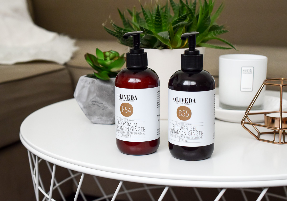 Oliveda Zimtrinde Ingwer Pflegedusche Körperbalsam Erfahrungen Beautyblogger Review mit Test-Bericht Oliveda Olivenbaum Kosmetik mit Zimt-Duft nach Winterpunsch
