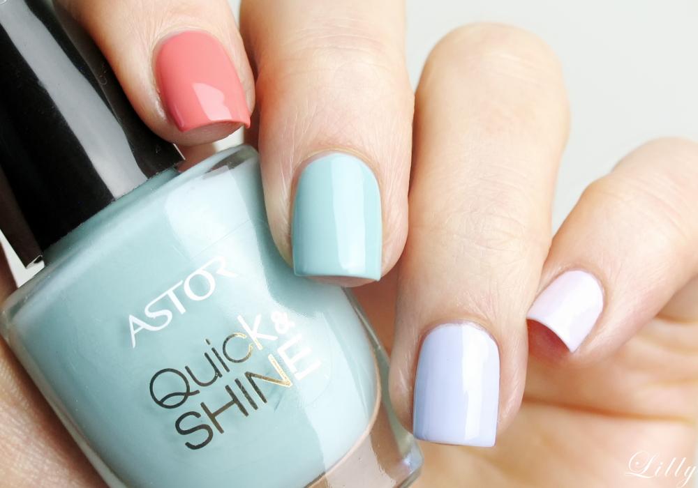 Astor Nagellacke Quick and Shine Test Erfahrungen und viele Bilder der schönen Nagellack Farben für den Frühling von Astor in der Beautyblogger Review Slash Of The Ocean