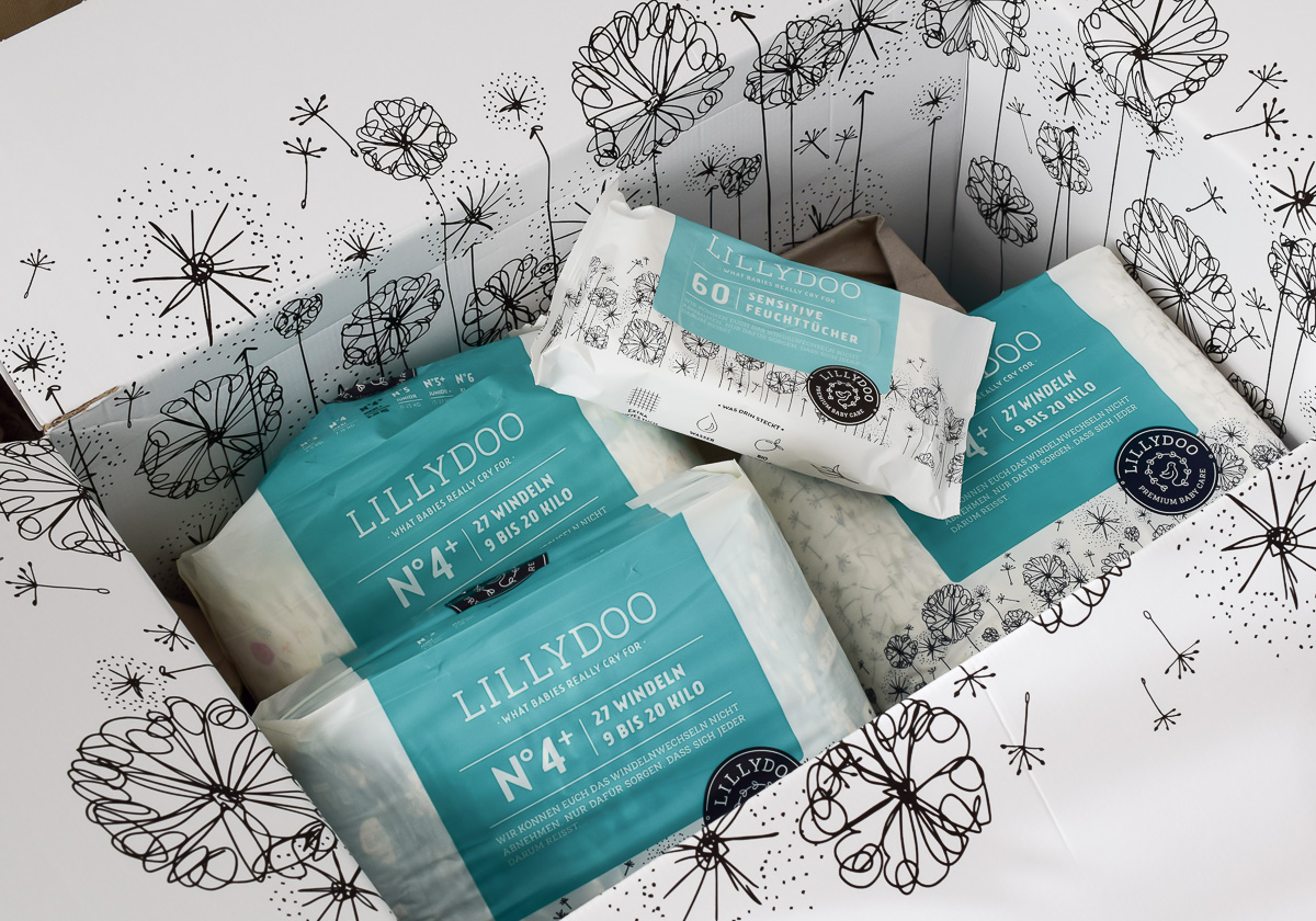 Lillydoo Windeln Erfahrungen Testpaket Windeln Test vegane Windeln und Feuchttücher