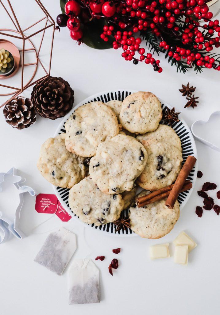 Schnelles und einfaches Rezept für leckere Cranberry-Chai-Cookies mit weißer Schokolade auf Mamablog I need sunshine