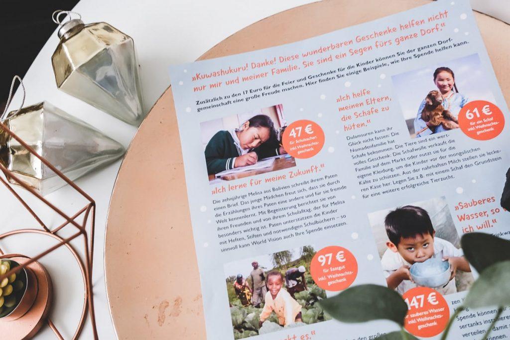 World Vision: Extra Spende zur Weihnachtszeit für das Patenkind und seine Familie sowie World Vision Erfahrungen und Testbericht auf Mamablog I need sunshine
