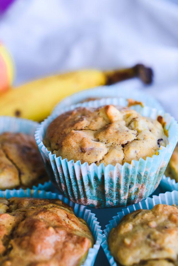 Apfel Bananen Muffins gesundes Rezept für Kinder ohne Zucker schnell und einfach backen