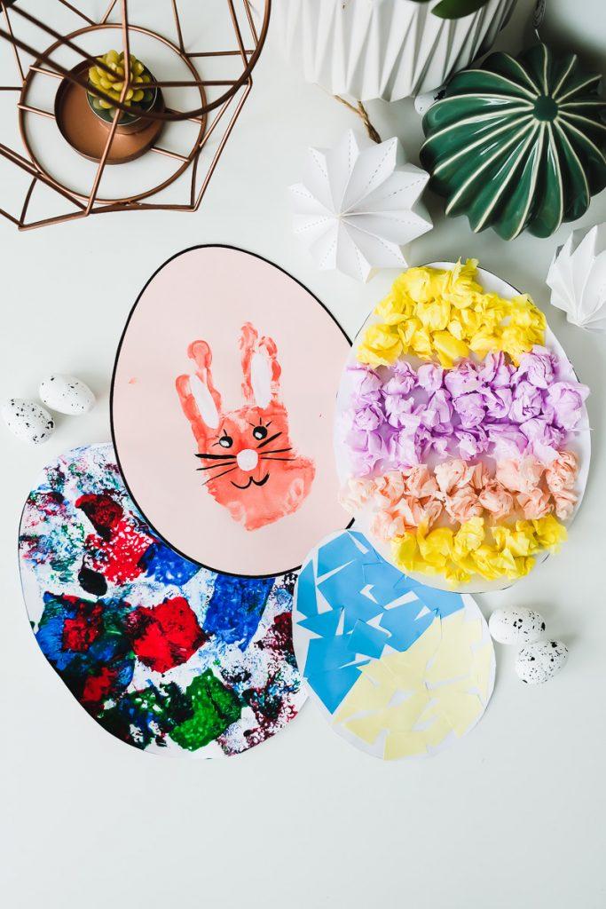 Osterbasteln Kleinkind Ostereier aus Papier Vorlage Basteln Ostern Kinder Ideen einfach und schnell Mamablog Ineedsunshine