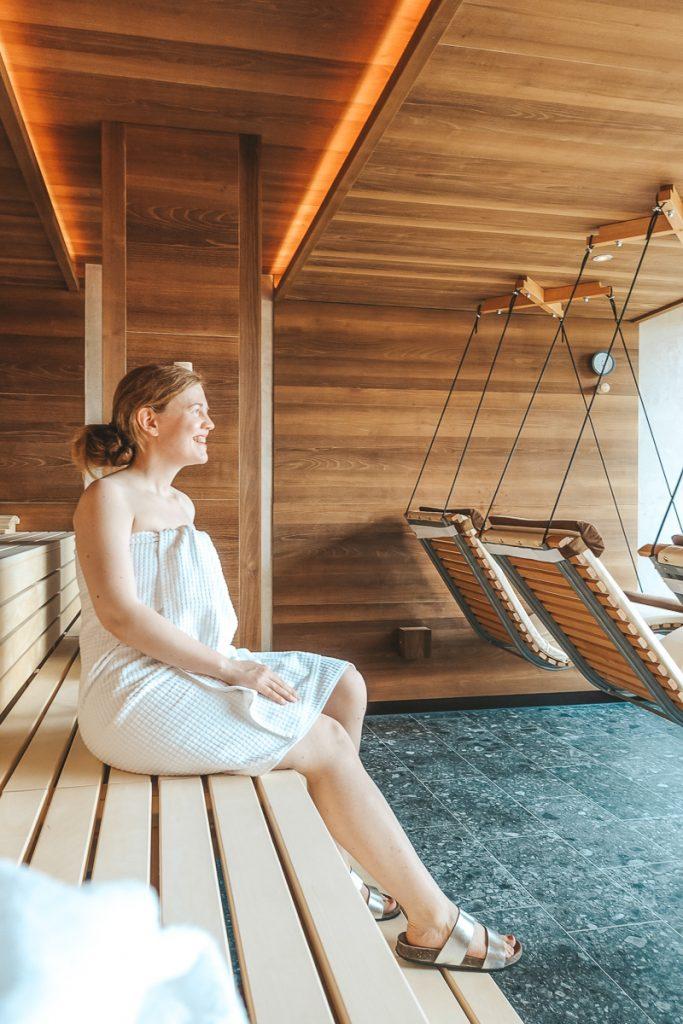 Wellnesshotel Allgäu mit Kindern Allgäuer Berghof Sauna im MaPa Spa für Eltern