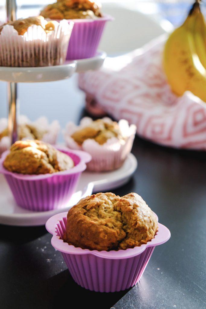 Erdnussbutter Bananen Muffins Rezept vegan zuckerfrei backen für Kinder Ineedsunshine