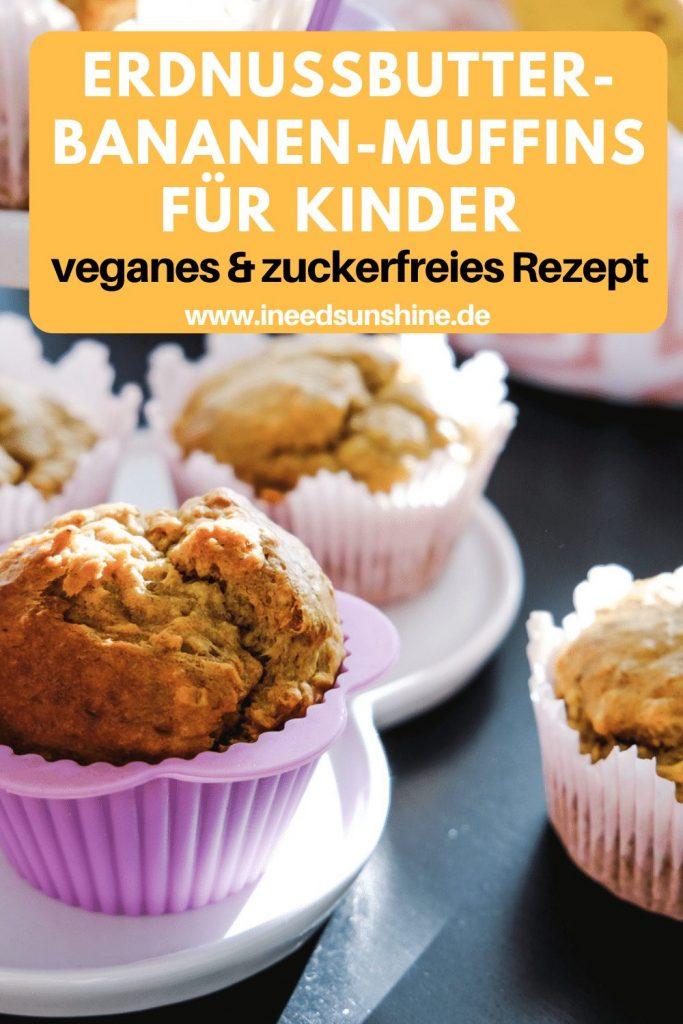 Zuckerfreie Erdnussbutter Bananen Muffins ohne Eier schnelles einfaches Rezept für Kinder